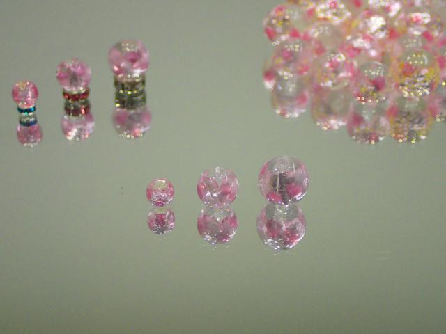 片穴丸玉 透明・ピンク 6mm玉 最安値 1個 155円~ 夜光ホタルガラス【ネコポス便可】