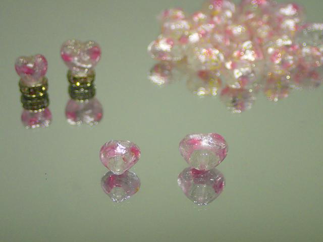 ハート 透明・ピンク 8mm玉 最安値 1個 180円~ 夜光ホタルガラス【ネコポス便可】