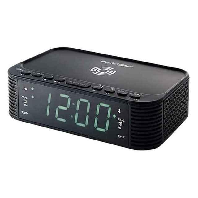 【即納】ワイヤレス スマホ充電 クロックラジオ Bluetooth機能付き 余計なコードもなくなりスッキリ ANABAS CR-BT100
