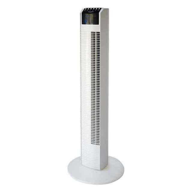 扇風機 タワー型 フルリモコン 見やすいデジタル表示 0~90度首振り 自動温度調節機能 ホワイト テクノス TF-910R