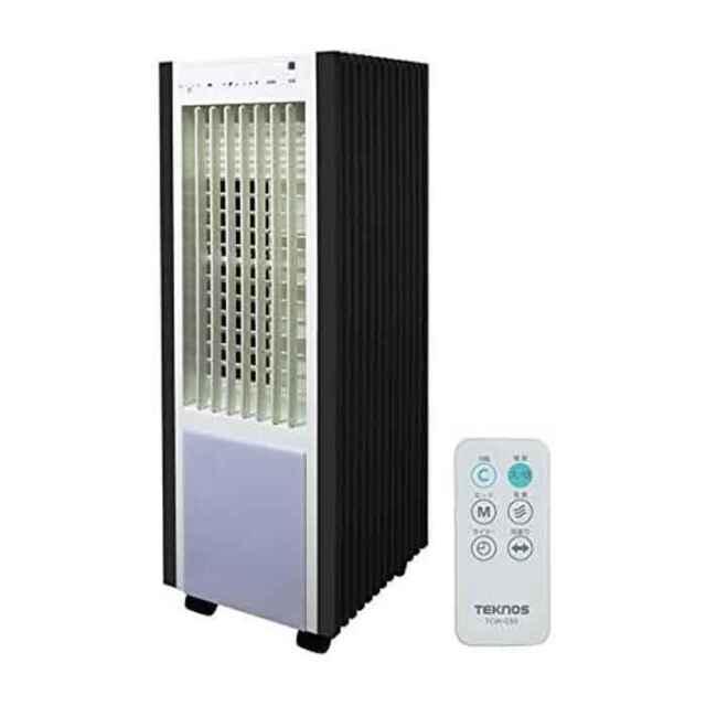 扇風機 冷風扇 リモコン冷風扇風機 抗菌加工 タンク取外し可 汲み上げ散布方式 ホワイト×ブラック テクノス TCW-030