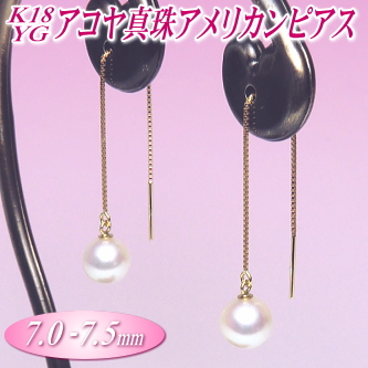 K18YGアコヤ真珠アメリカンピアス(7.0-7.5mm)