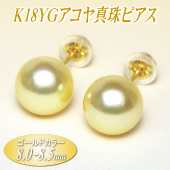 アコヤ真珠 K18イエローゴールド ピアス ゴールドカラー 8.0-8.5mm