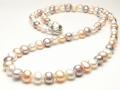 3色マルチカラーの淡水真珠ロングネックレス(9〜8ミリ/80cm)