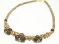スモーキークォーツ&淡水真珠デザインネックレス