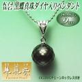 【華真珠】K14WG黒蝶真珠ダイヤ入りペンダント(ブラックグリーンカラー/9ミリ)