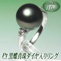 黒蝶真珠ダイヤ入りリング(ブラックグリーンカラー/10mm/プラチナ製)