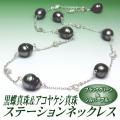 黒蝶真珠&アコヤケシ真珠ステーションネックレス(ブラックグリーン&シルバーブルーカラー/50cm)