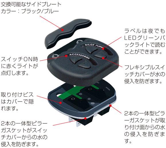 【防滴】スイッチパネル 6連