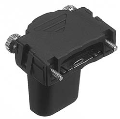 HDR-E26ALPB+/スクリューロックタイプEMI対策プラスチックライトアングル型ケース(太線用)【ROHS】