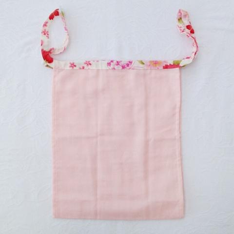 【和癒ぱんつ(ふんどしパンツ)】肌癒ダブルガーゼ(ピンク)×桜と蝶(白)『メール便可』