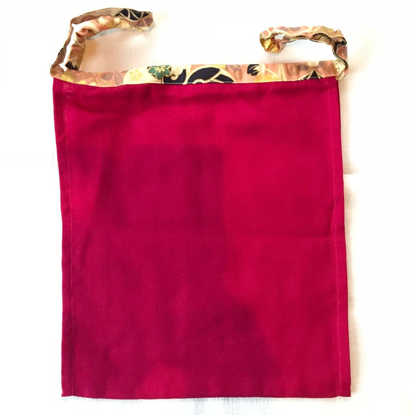 【和癒ぱんつ(ふんどしパンツ)】肌癒ダブルガーゼ(赤紫)×金彩花文様(ピンク)『メール便可』【緩サイズ】
