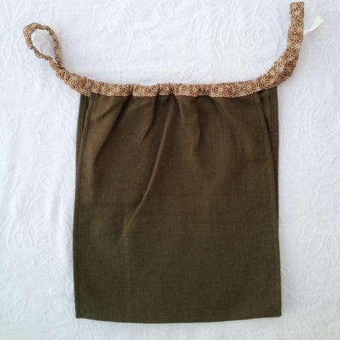【和癒ぱんつ(ふんどしパンツ)】肌癒ダブルガーゼ(深緑)×麻の葉(黄土)『メール便可』