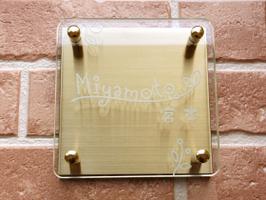ガラス&カラーステンレス表札 クリア&プラチナゴールド ガラスとステンレスを組み合わせたエレガントな表札