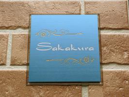カラーステンレスエッチング表札 プラチナブルー色 シンプルでシャープなイメージのオリジナル表札