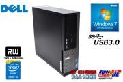 Windows7 32bit 中古パソコン DELL OPTIPLEX 3020 SF Core i3 4160 (3.60GHz) メモリ4G HDD500GB DVDマルチ USB3.0