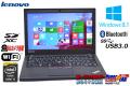 メモリ8G 中古ノートパソコン レノボ ThinkPad X250 Core i5 5200U (2.20GHz) Windows8.1 HDD500G カメラ Bluetooth USB3.0