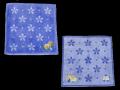 婦人タオルハンカチ。青地に花の刺繍が入ったかわいらしいタオルハンカチです。綿100%です。