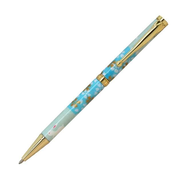 【即納可能】F-STYLE 美濃和紙 Mimo Washi Pen ボールペン TM1600 うさぎ市松 水色 メール便可