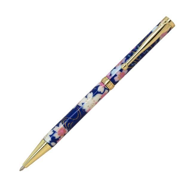 【即納可能】F-STYLE 美濃和紙 Mimo Washi Pen ボールペン TM1601 桜と流水 紺色 メール便可