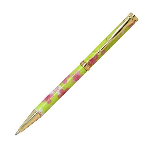 【即納可能】F-STYLE 美濃和紙 Mimo Washi Pen ボールペン TM1601 桜と流水 黄緑色 メール便可