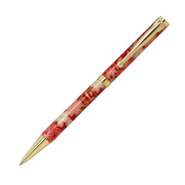 【即納可能】F-STYLE 美濃和紙 Mimo Washi Pen ボールペン TM1602 しだれ桜 赤色 メール便可