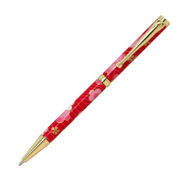 【即納可能】F-STYLE 美濃和紙 Mimo Washi Pen ボールペン TM1603 梅と青海波 赤色 メール便可