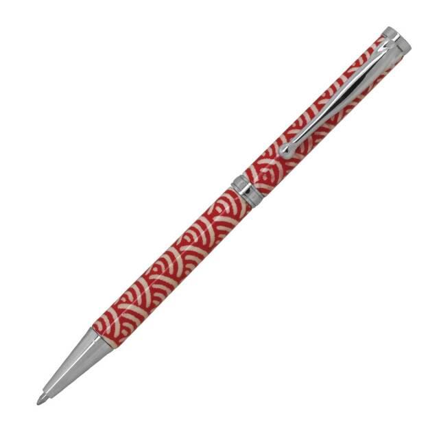 【即納可能】F-STYLE 美濃和紙 Mimo Washi Pen ボールペン PMW1550 青海波 赤色 メール便可