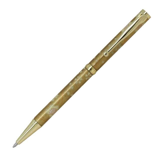 【即納可能】F-STYLE 美濃和紙 Mimo Washi Pen ボールペン PMW1555 金箔格子 桜 メール便可