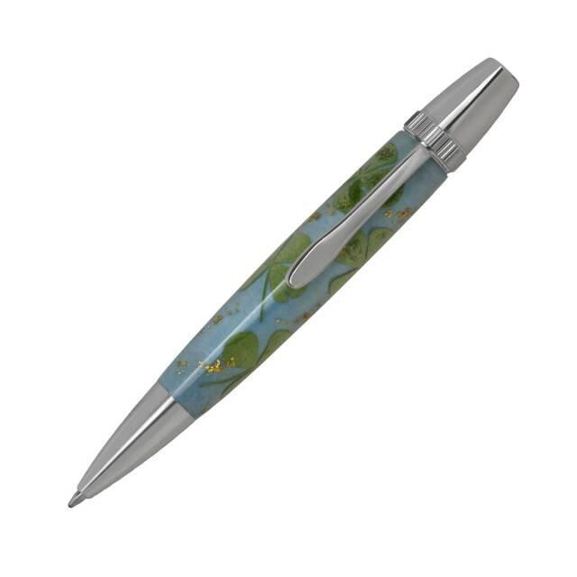 【即納可能】F-STYLE Flower Pen 押花 ボールペン TFB2021 四つ葉のクローバー 水色
