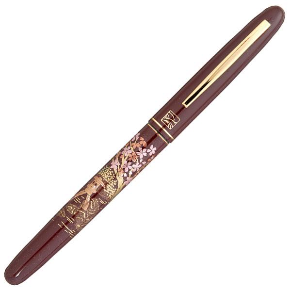 【お取り寄せ】くれ竹(Kuretake) 蒔絵物語 桜園 赤 万年毛筆 DU181-615