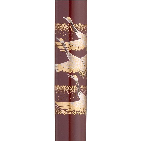 【お取り寄せ】くれ竹(Kuretake) 蒔絵物語 鶴寿千歳 赤 万年毛筆 DU181-715