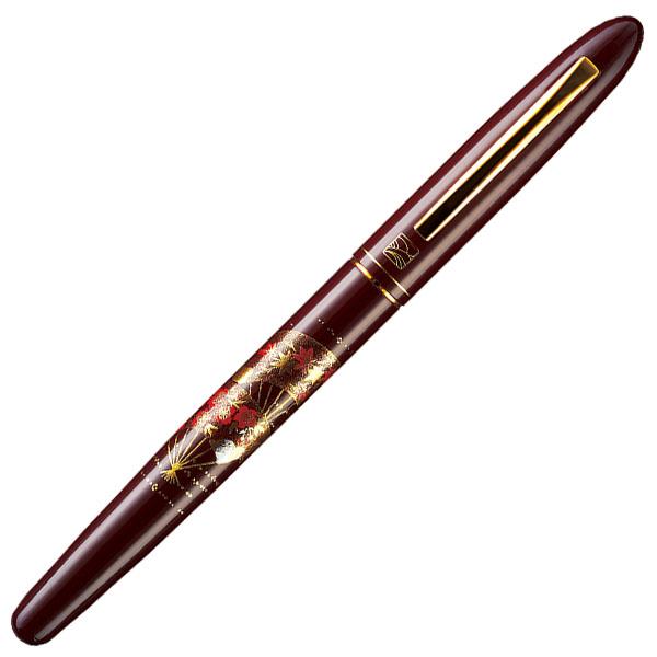 【お取り寄せ】くれ竹(Kuretake) 蒔絵物語 扇面 臙脂 手紙ぺん ER187-110