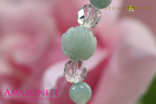 天然石 薔薇ブレスレット 『アマゾナイト』