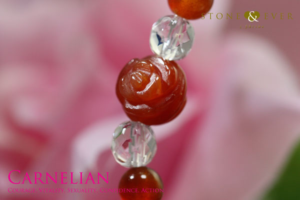 天然石 薔薇ブレスレット 『カーネリアン』