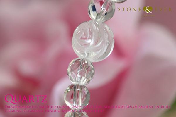 天然石 薔薇ブレスレット 『水晶』