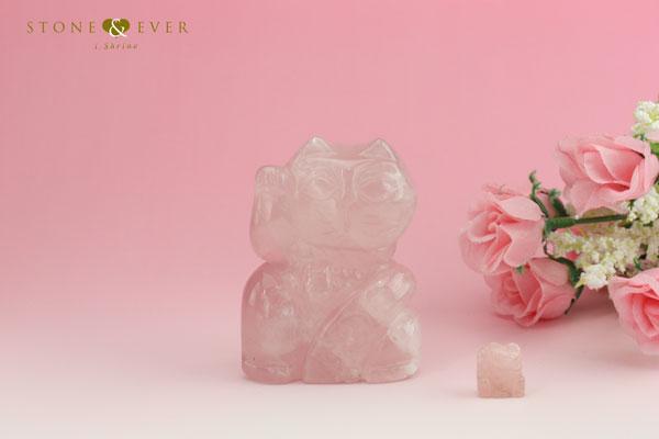 天然石インテリア 招き猫 『ローズクォーツ』