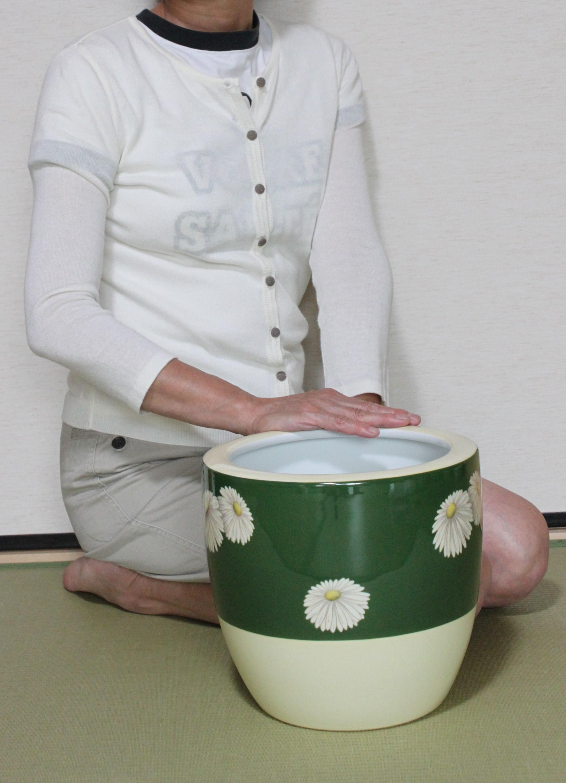 オールドノリタケ緑地白菊文様手あぶり火鉢
