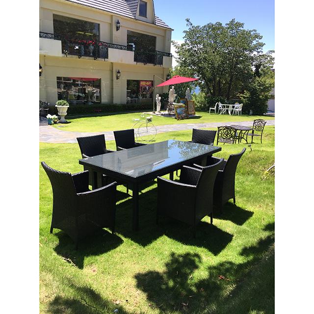 Garden Furniture / 雨に強いガーデンテーブルチェア7点セット |200cm|ガラストップ|少々難あり|IB Selection|HGE0059