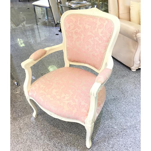 Dining Chair / ダイニングアームチェア|ホワイトフレーム×ピンクファブリック|CAL0079IB