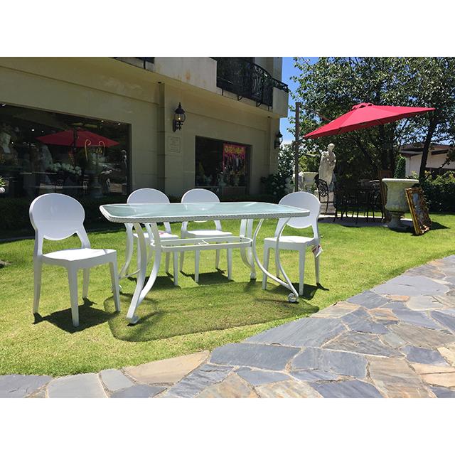 Garden Furniture / 雨に強いガーデンテーブルチェア7点セット |155cm|ガラストップ|少々難あり|IB Selection|HGE0064
