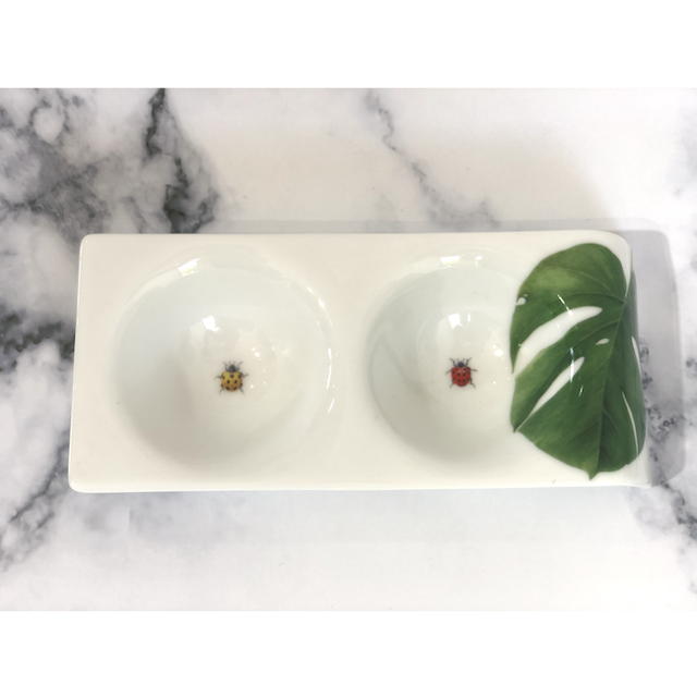 Botanical Vegetable Plate / 野菜皿|Ladybug&Monstera / てんとう虫&モンステラ|MIS1032IB