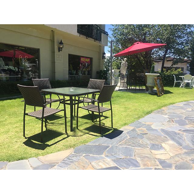 Garden Furniture / 雨に強いガーデンテーブルチェア5点セット |97cm|ガラストップ|少々難あり|IB Selection|HGE0063