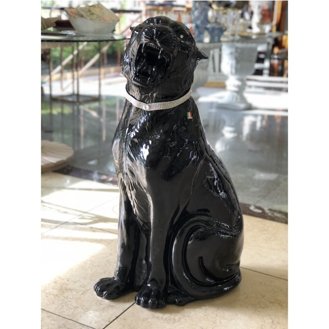 陶器オブジェ|陶器|Black Leopard / 黒ひょう|OBJ0174IB