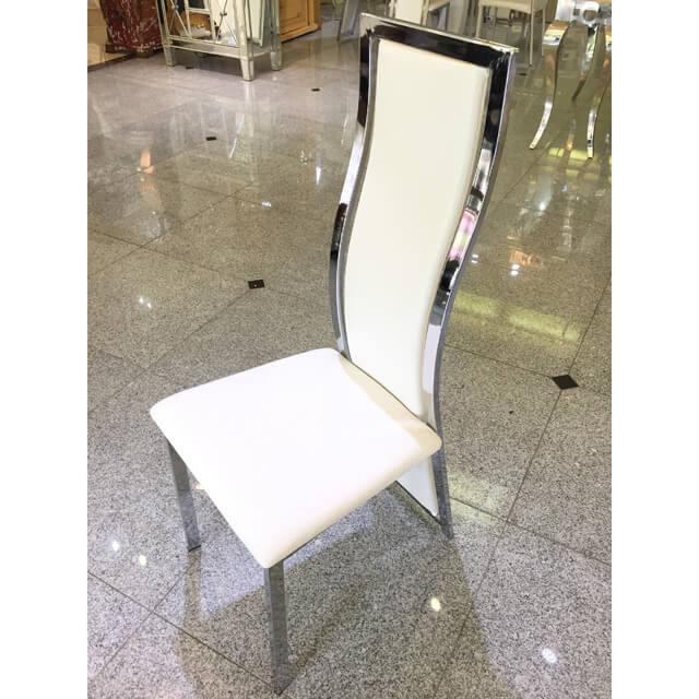 High Back Dining Chair / ハイバックダイニングチェアー - クロコダイル調/ホワイト IB Selection CAI0013