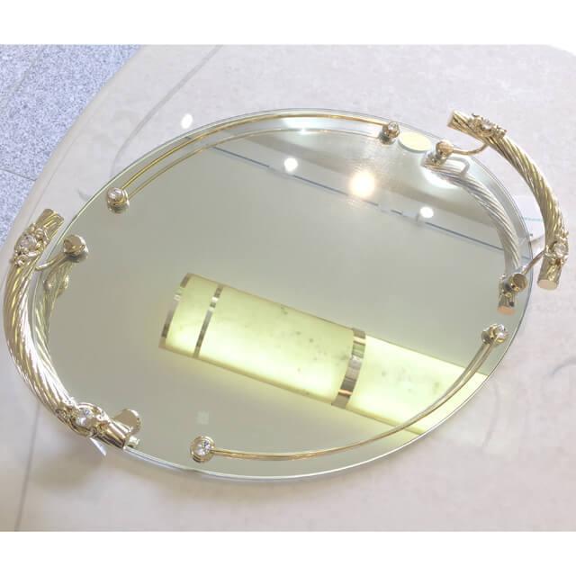 ACCESSORIES / Tray / コンプリメント / エレガント ガラスミラートレー - 円形/把手ストーン付|IB Selection|CPM0018