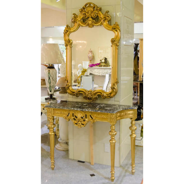 Mirror & Marble Top Console / ミラー&大理石コンソール |IB Selection|CSL0015