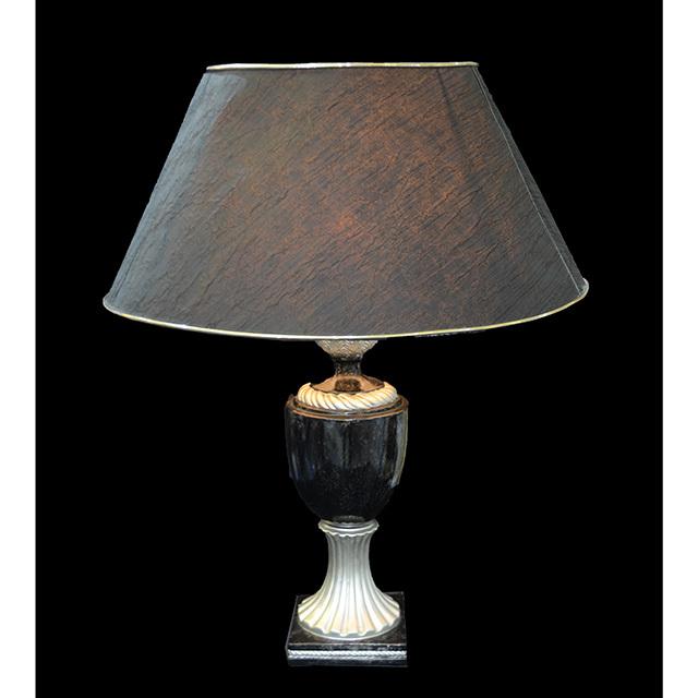 Pottery Lamp / 陶器ランプ|シェード付き|ブラック×シルバー|LMP0039IB