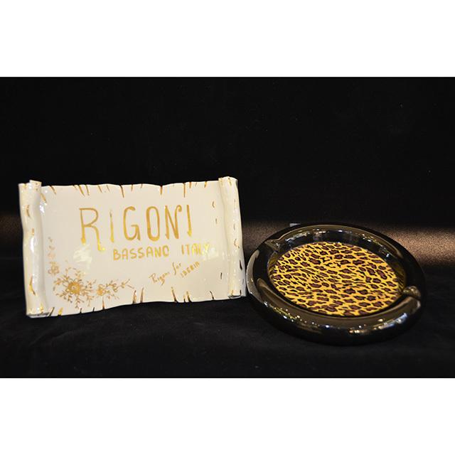 ashtray - 灰皿|Leopard Pattern×Black / ヒョウ柄×ブラック|丸型|Angela Rigon  : イタリア|OBJ0126RGN