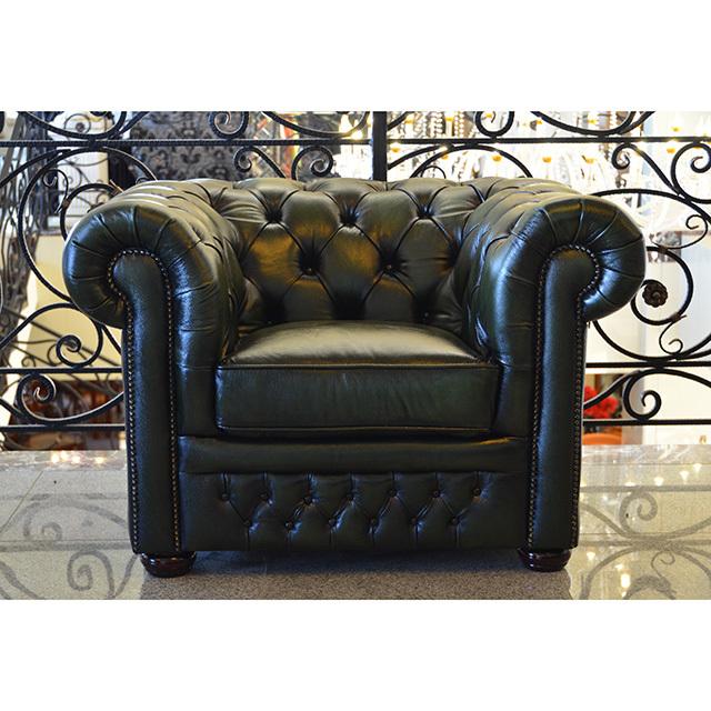 Single Leather Sofa / シングル 革張りソファ|タフティング|モスグリーン|IB Selection|SF0095IB